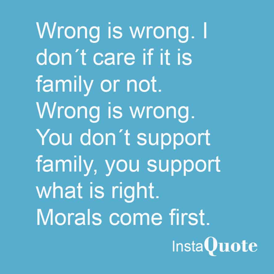 Morals come first