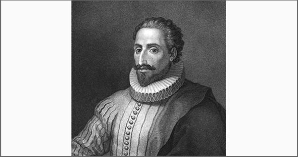 Cervantes op papier gris